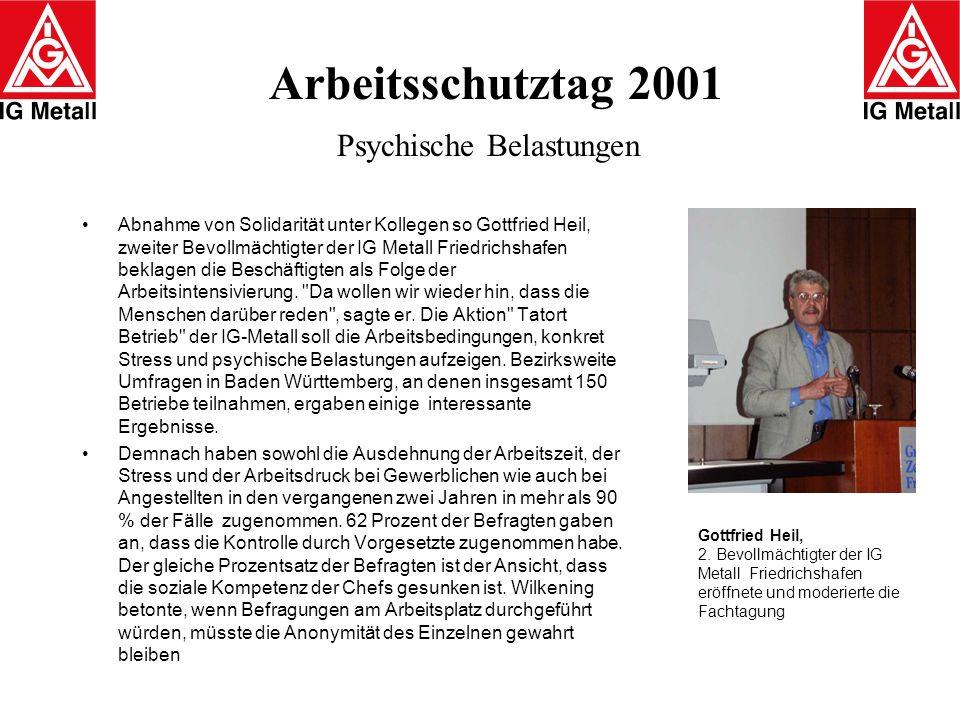 Arbeitsschutztag 2001 Psychische Belastungen Abnahme von Solidarität unter Kollegen so Gottfried Heil, zweiter Bevollmächtigter der IG Metall Friedric