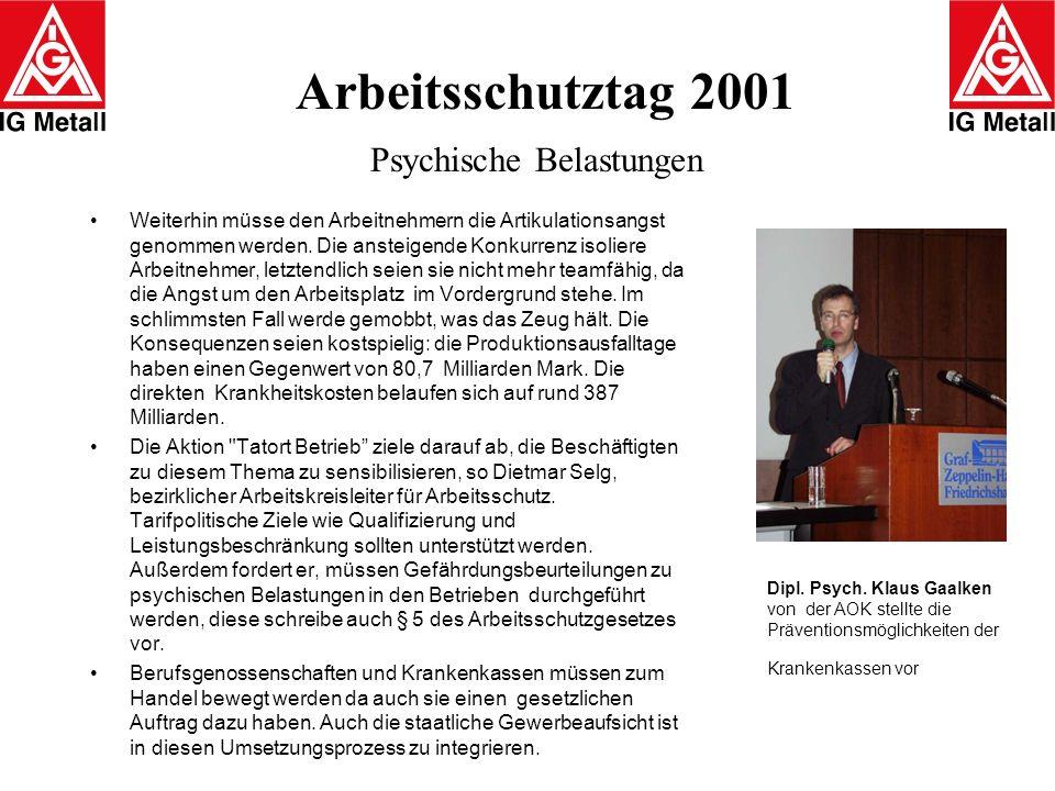 Arbeitsschutztag 2001 Psychische Belastungen Weiterhin müsse den Arbeitnehmern die Artikulationsangst genommen werden. Die ansteigende Konkurrenz isol