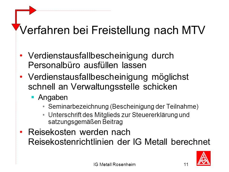 IG Metall Rosenheim11 Verfahren bei Freistellung nach MTV Verdienstausfallbescheinigung durch Personalbüro ausfüllen lassen Verdienstausfallbescheinig