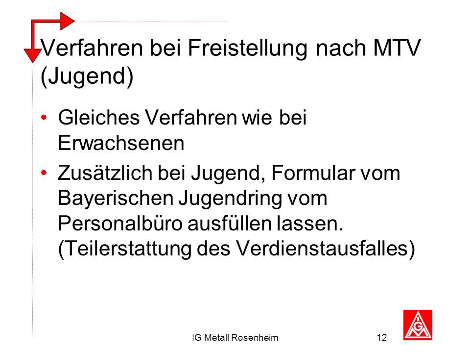 IG Metall Rosenheim12 Verfahren bei Freistellung nach MTV (Jugend) Gleiches Verfahren wie bei Erwachsenen Zusätzlich bei Jugend, Formular vom Bayerisc