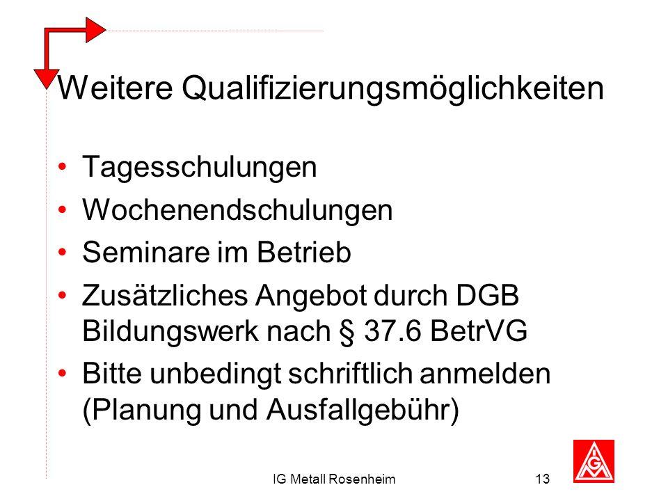IG Metall Rosenheim13 Weitere Qualifizierungsmöglichkeiten Tagesschulungen Wochenendschulungen Seminare im Betrieb Zusätzliches Angebot durch DGB Bild