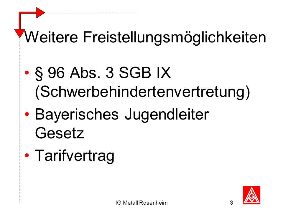 IG Metall Rosenheim3 Weitere Freistellungsmöglichkeiten § 96 Abs. 3 SGB IX (Schwerbehindertenvertretung) Bayerisches Jugendleiter Gesetz Tarifvertrag