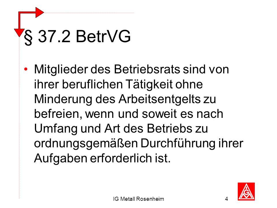 IG Metall Rosenheim4 § 37.2 BetrVG Mitglieder des Betriebsrats sind von ihrer beruflichen Tätigkeit ohne Minderung des Arbeitsentgelts zu befreien, we