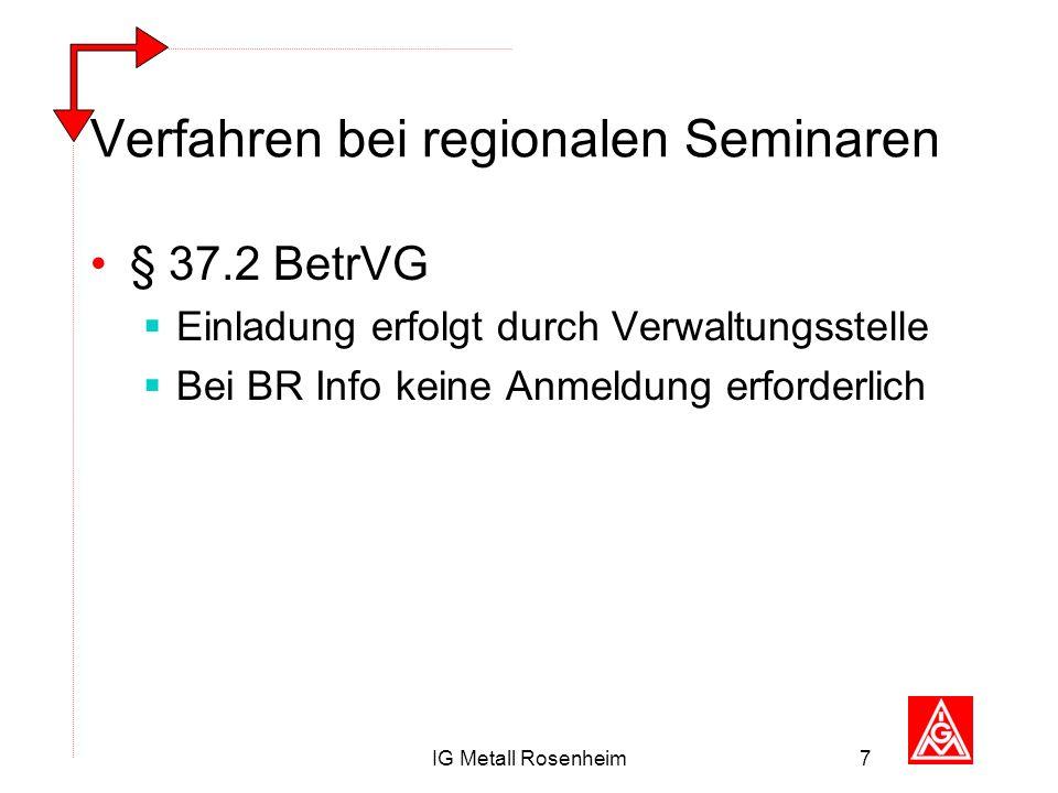 IG Metall Rosenheim7 Verfahren bei regionalen Seminaren § 37.2 BetrVG Einladung erfolgt durch Verwaltungsstelle Bei BR Info keine Anmeldung erforderli
