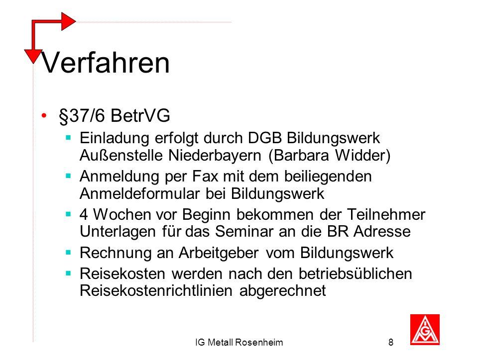 IG Metall Rosenheim8 Verfahren §37/6 BetrVG Einladung erfolgt durch DGB Bildungswerk Außenstelle Niederbayern (Barbara Widder) Anmeldung per Fax mit d