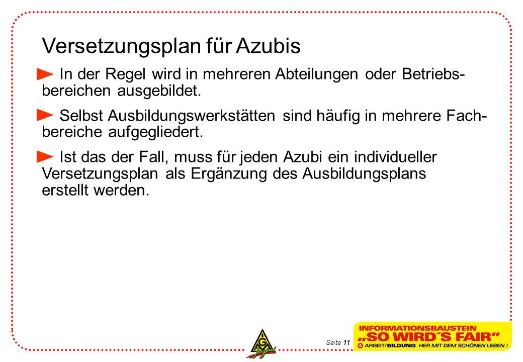 Versetzungsplan für Azubis In der Regel wird in mehreren Abteilungen oder Betriebs- bereichen ausgebildet. Selbst Ausbildungswerkstätten sind häufig i