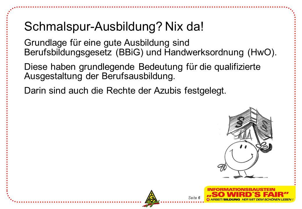 Schmalspur-Ausbildung? Nix da! Grundlage für eine gute Ausbildung sind Berufsbildungsgesetz (BBiG) und Handwerksordnung (HwO). Diese haben grundlegend