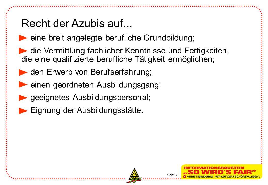 Recht der Azubis auf... eine breit angelegte berufliche Grundbildung; die Vermittlung fachlicher Kenntnisse und Fertigkeiten, die eine qualifizierte b