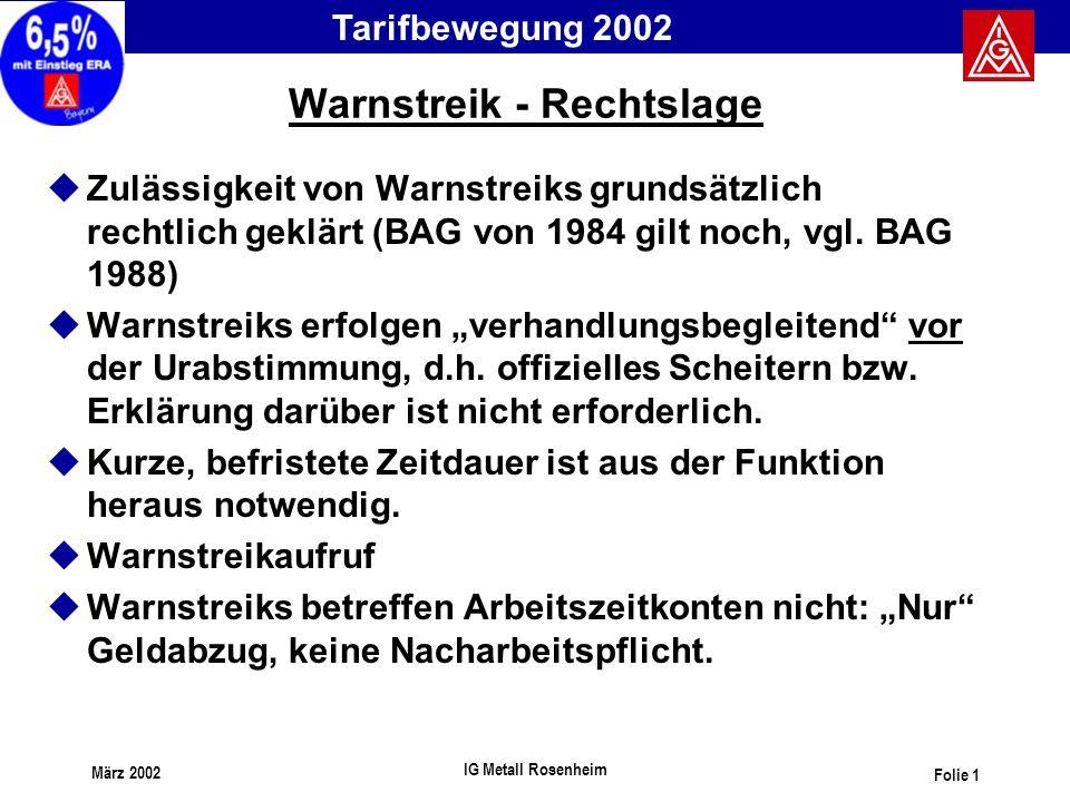Tarifbewegung 2002 März 2002 IG Metall Rosenheim Folie 1 Warnstreik - Rechtslage uZulässigkeit von Warnstreiks grundsätzlich rechtlich geklärt (BAG vo