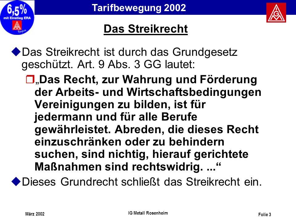 Tarifbewegung 2002 März 2002 IG Metall Rosenheim Folie 4 Streikrecht bringt Verhandlungsmacht uTarifverträge kommen nur zustande, wenn sie gegebenenfalls von den Gewerkschaften mit den Mitteln eines Arbeitskampfes erzwungen werden können...