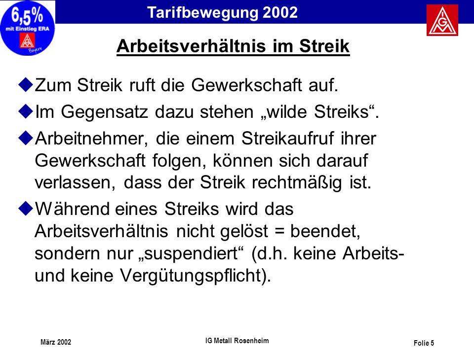 Tarifbewegung 2002 März 2002 IG Metall Rosenheim Folie 5 Arbeitsverhältnis im Streik uZum Streik ruft die Gewerkschaft auf. uIm Gegensatz dazu stehen