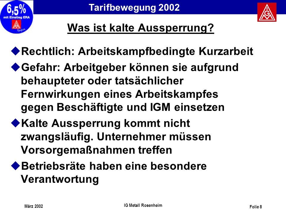 Tarifbewegung 2002 März 2002 IG Metall Rosenheim Folie 8 Was ist kalte Aussperrung? uRechtlich: Arbeitskampfbedingte Kurzarbeit uGefahr: Arbeitgeber k