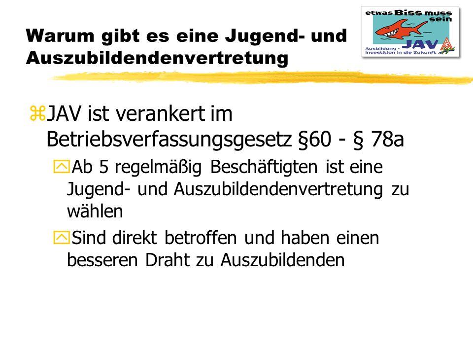 Warum gibt es eine Jugend- und Auszubildendenvertretung zJAV ist verankert im Betriebsverfassungsgesetz §60 - § 78a yAb 5 regelmäßig Beschäftigten ist