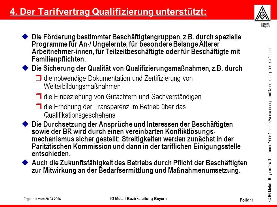 © IG Metall Bayern/sw/ Tarifrunde 2006/020506/Verwendung mit Quellenangabe erwünscht Bezirk Bayern Ergebnis vom 28.04.2006 IG Metall Bezirksleitung Ba