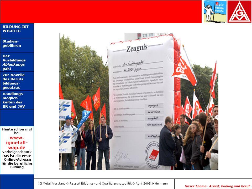 IG Metall Vorstand Ressort Bildungs- und Qualifizierungspolitik April 2005 Heimann Unser Thema: Arbeit, Bildung und Beruf BILDUNG IST WICHTIG Studien-