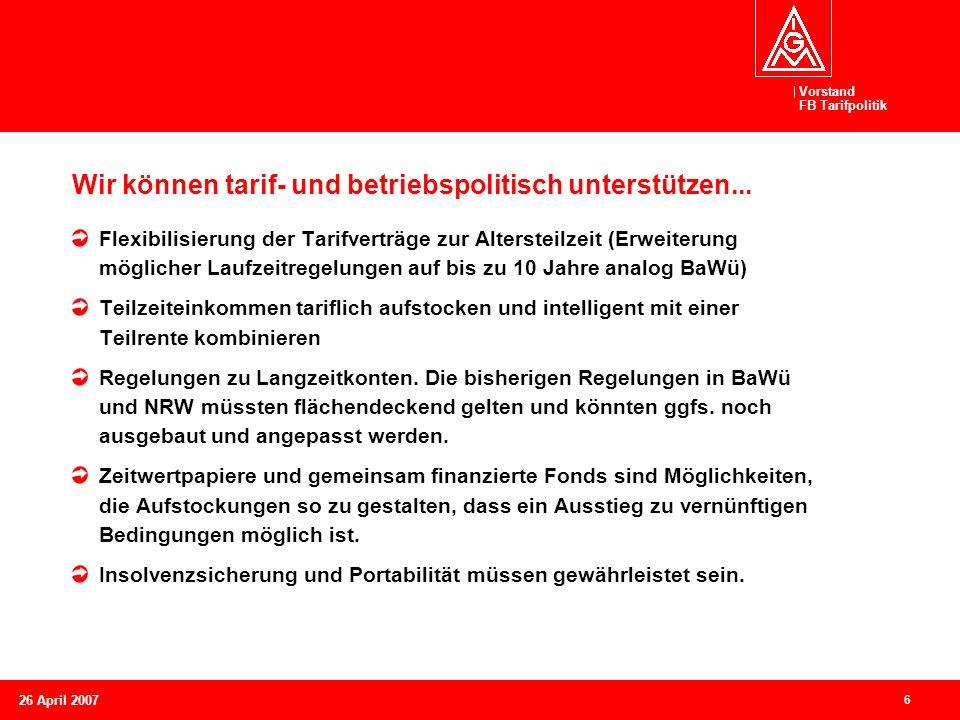 Vorstand FB Tarifpolitik 6 26 April 2007 Wir können tarif- und betriebspolitisch unterstützen... Flexibilisierung der Tarifverträge zur Altersteilzeit