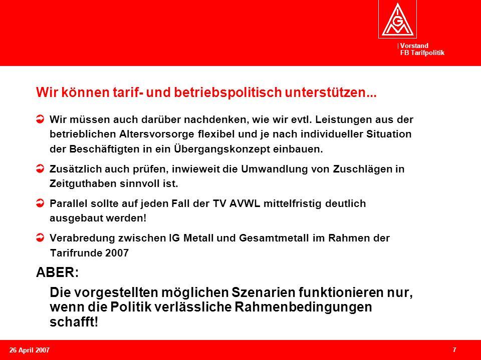 Vorstand FB Tarifpolitik 7 26 April 2007 Wir können tarif- und betriebspolitisch unterstützen... Wir müssen auch darüber nachdenken, wie wir evtl. Lei