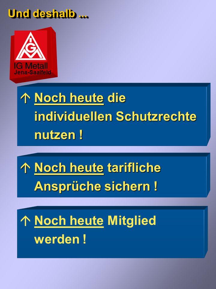 Anspruch haben nur Mitglieder... Jena-Saalfeld áDie IG Metall ist für den Abschluss von Tarifverträgen und die Gestaltung der Arbeitsbedingungen der B