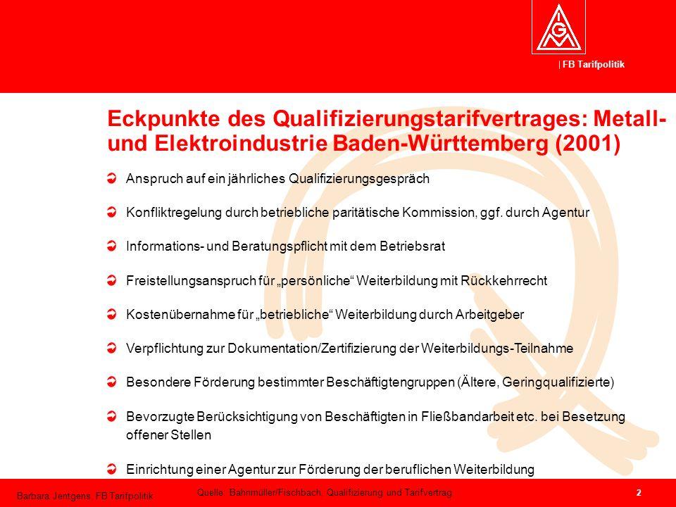 FB Tarifpolitik Barbara Jentgens, FB Tarifpolitik 2 Eckpunkte des Qualifizierungstarifvertrages: Metall- und Elektroindustrie Baden-Württemberg (2001)
