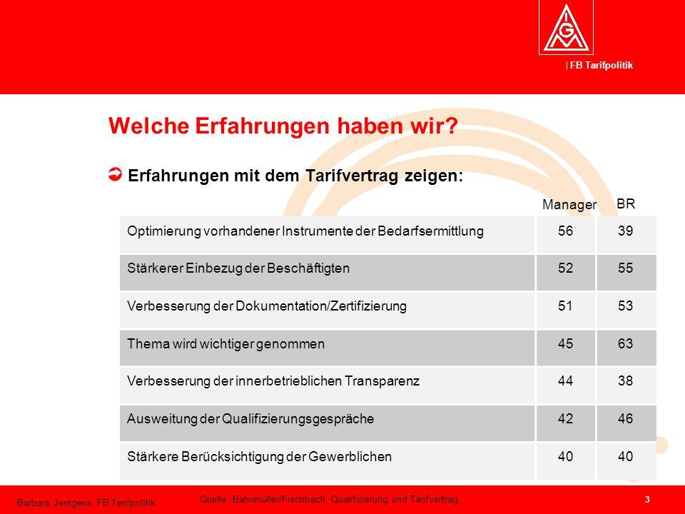 FB Tarifpolitik Barbara Jentgens, FB Tarifpolitik 3 Welche Erfahrungen haben wir? Erfahrungen mit dem Tarifvertrag zeigen: Optimierung vorhandener Ins