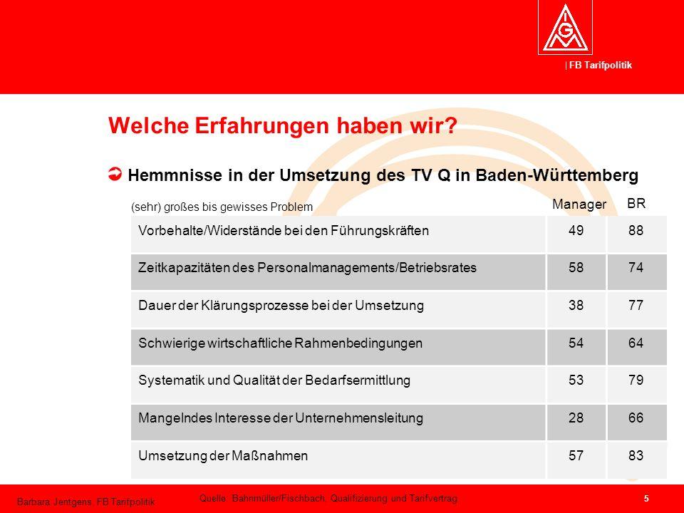 FB Tarifpolitik Barbara Jentgens, FB Tarifpolitik 5 Welche Erfahrungen haben wir? Hemmnisse in der Umsetzung des TV Q in Baden-Württemberg Vorbehalte/