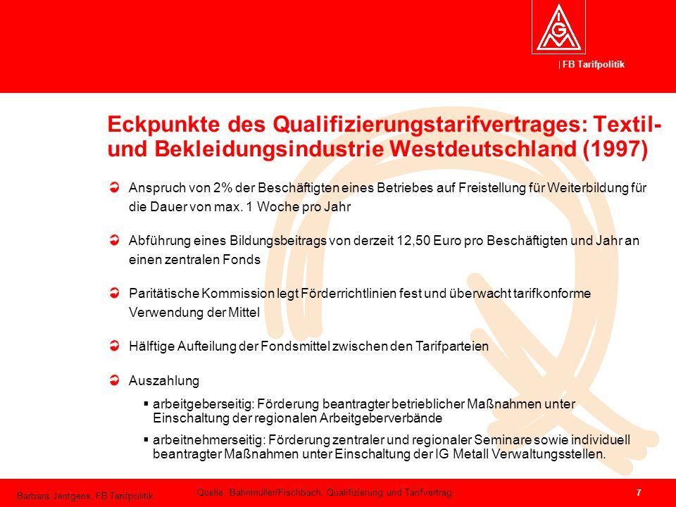 FB Tarifpolitik Barbara Jentgens, FB Tarifpolitik 7 Eckpunkte des Qualifizierungstarifvertrages: Textil- und Bekleidungsindustrie Westdeutschland (199