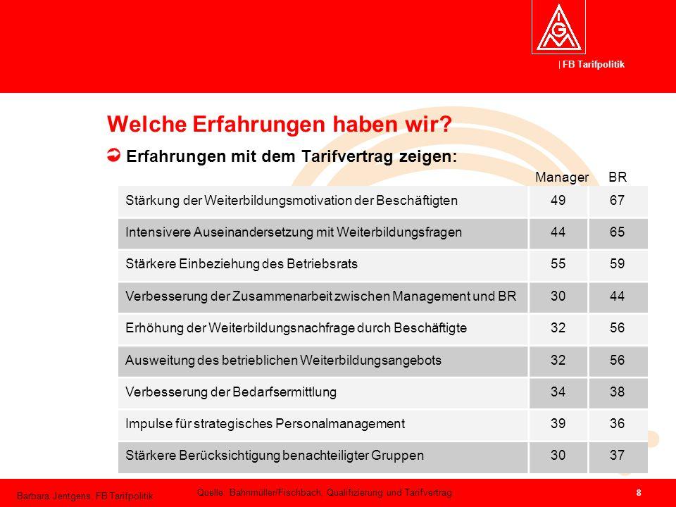 FB Tarifpolitik Barbara Jentgens, FB Tarifpolitik 8 Welche Erfahrungen haben wir? Erfahrungen mit dem Tarifvertrag zeigen: Stärkung der Weiterbildungs