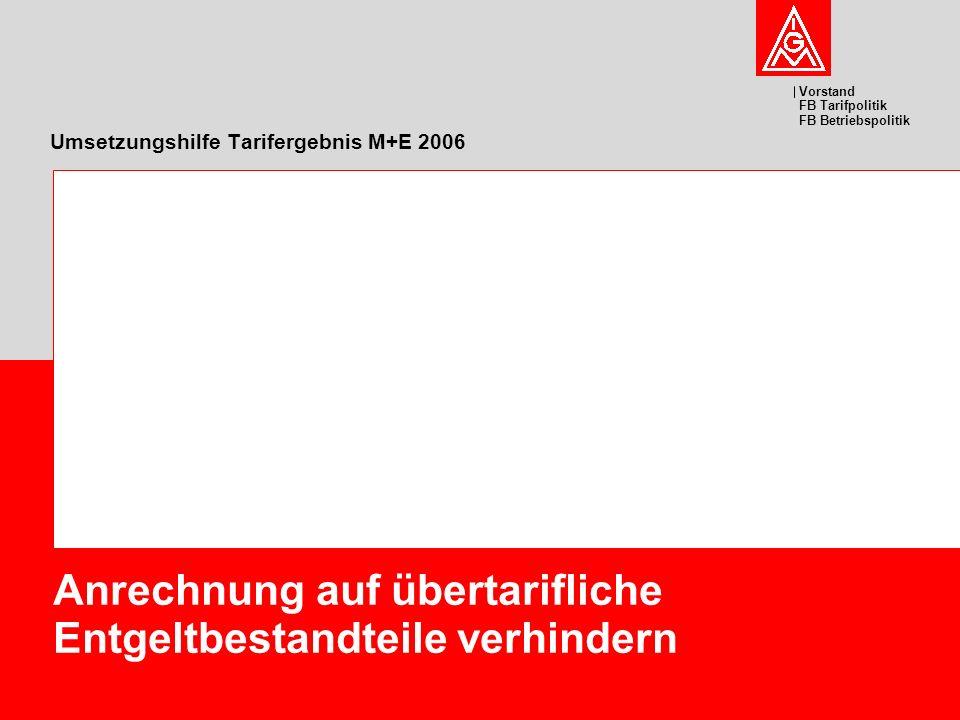 Vorstand FB Tarifpolitik FB Betriebspolitik Umsetzungshilfe Tarifergebnis M+E 2006 Anrechnung auf übertarifliche Entgeltbestandteile verhindern