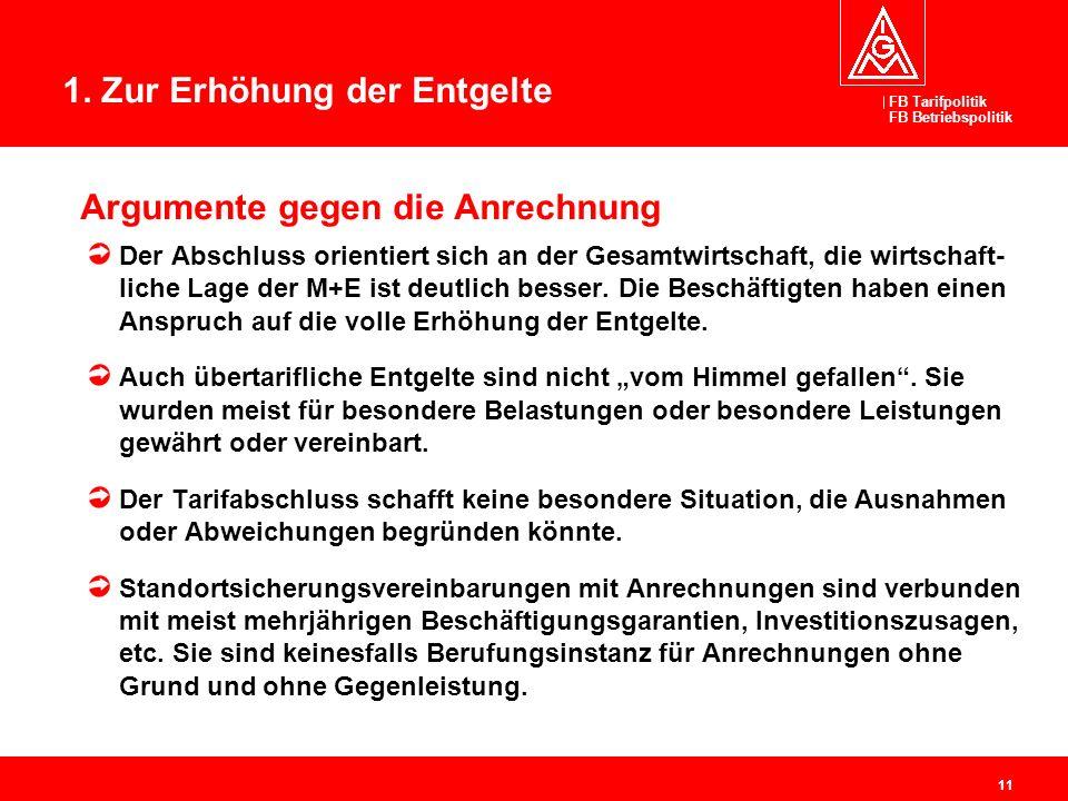 FB Tarifpolitik FB Betriebspolitik 11 Argumente gegen die Anrechnung Der Abschluss orientiert sich an der Gesamtwirtschaft, die wirtschaft- liche Lage