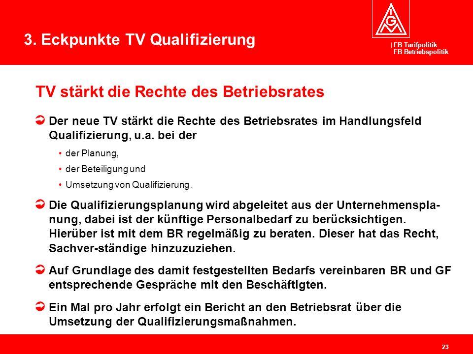 FB Tarifpolitik FB Betriebspolitik 23 TV stärkt die Rechte des Betriebsrates Der neue TV stärkt die Rechte des Betriebsrates im Handlungsfeld Qualifiz