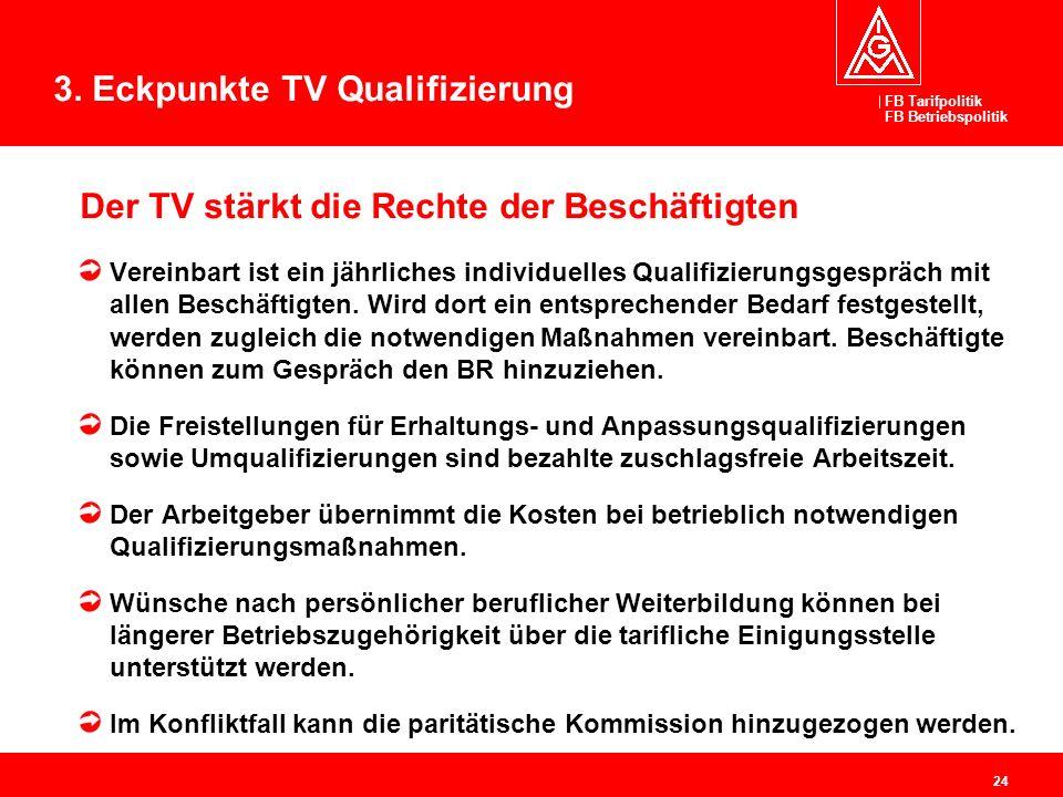 FB Tarifpolitik FB Betriebspolitik 24 Der TV stärkt die Rechte der Beschäftigten Vereinbart ist ein jährliches individuelles Qualifizierungsgespräch m