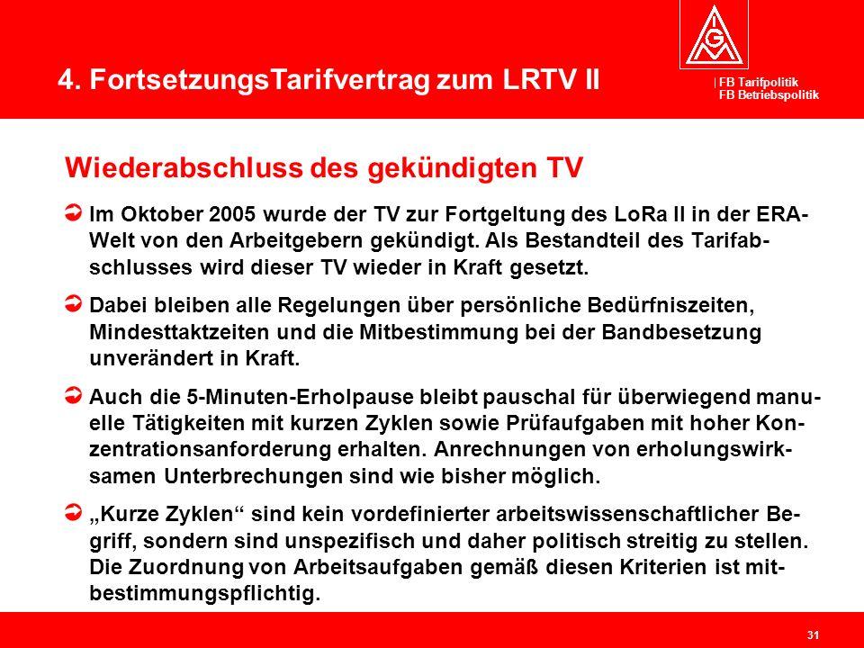 FB Tarifpolitik FB Betriebspolitik 31 Wiederabschluss des gekündigten TV Im Oktober 2005 wurde der TV zur Fortgeltung des LoRa II in der ERA- Welt von
