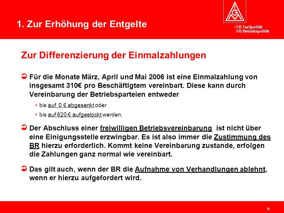 FB Tarifpolitik FB Betriebspolitik 6 Zur Differenzierung der Einmalzahlungen Für die Monate März, April und Mai 2006 ist eine Einmalzahlung von insges