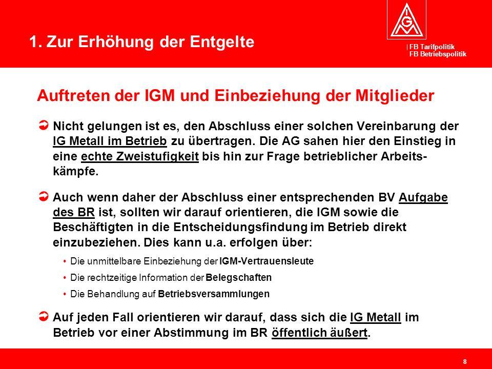 FB Tarifpolitik FB Betriebspolitik 8 Auftreten der IGM und Einbeziehung der Mitglieder Nicht gelungen ist es, den Abschluss einer solchen Vereinbarung