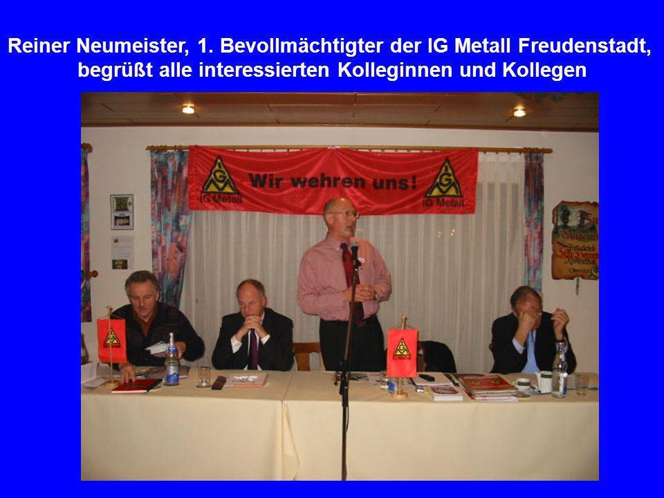 Zur Podiumsdiskussion waren eingeladen (von v.l.): Arnold Möhrle, Versichertenältester der deutschen Rentenversicherung und Betriebsratsvorsitzender der Firma Bosch-Rexroth in Horb; Gerhard Peetz, Geschäftsführer der Agentur für Arbeit (Nagold); Reiner Neumeister, 1.