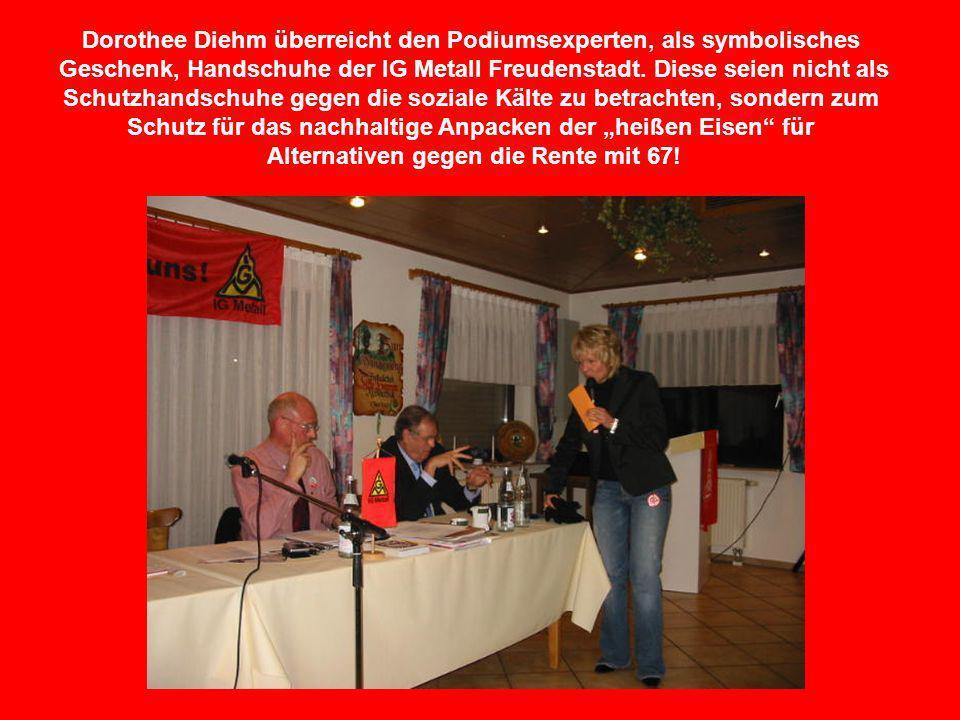 Dorothee Diehm überreicht den Podiumsexperten, als symbolisches Geschenk, Handschuhe der IG Metall Freudenstadt. Diese seien nicht als Schutzhandschuh