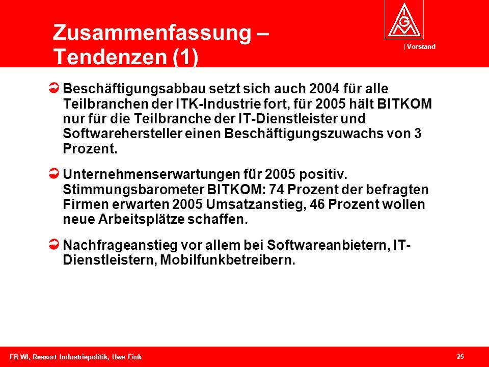 Vorstand 25 FB WI, Ressort Industriepolitik, Uwe Fink Zusammenfassung – Tendenzen (1) Beschäftigungsabbau setzt sich auch 2004 für alle Teilbranchen der ITK-Industrie fort, für 2005 hält BITKOM nur für die Teilbranche der IT-Dienstleister und Softwarehersteller einen Beschäftigungszuwachs von 3 Prozent.