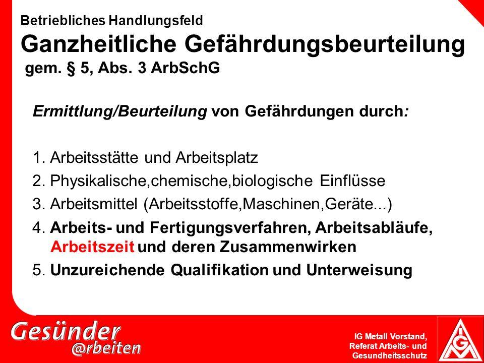 IG Metall Vorstand, Referat Arbeits- und Gesundheitsschutz Betriebliches Handlungsfeld Ganzheitliche Gefährdungsbeurteilung gem. § 5, Abs. 3 ArbSchG E