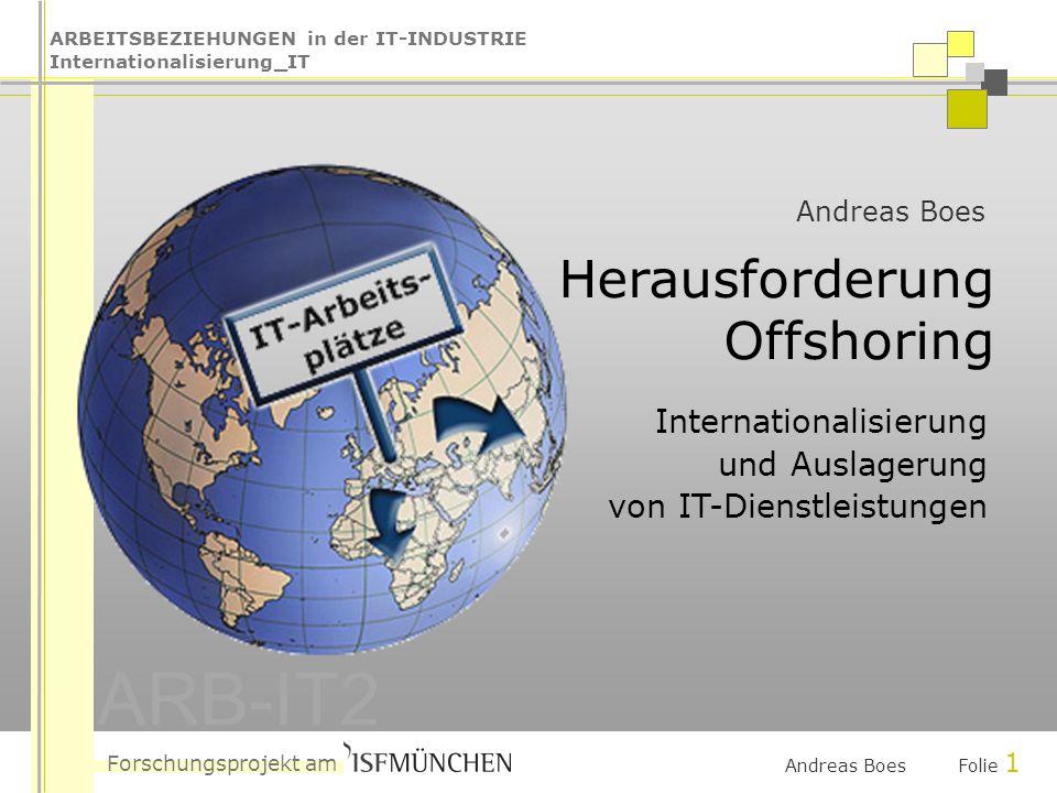 ARBEITSBEZIEHUNGEN in der IT-INDUSTRIE Internationalisierung_IT Forschungsprojekt am ARB-IT2 Andreas Boes Folie 2 Das ISF München......