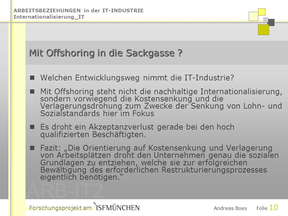 ARBEITSBEZIEHUNGEN in der IT-INDUSTRIE Internationalisierung_IT Forschungsprojekt am ARB-IT2 Andreas Boes Folie 10 Mit Offshoring in die Sackgasse .