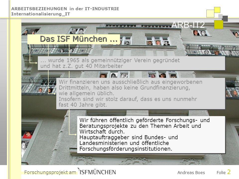 ARBEITSBEZIEHUNGEN in der IT-INDUSTRIE Internationalisierung_IT Forschungsprojekt am ARB-IT2 Andreas Boes Folie 2 Das ISF München...... wurde 1965 als