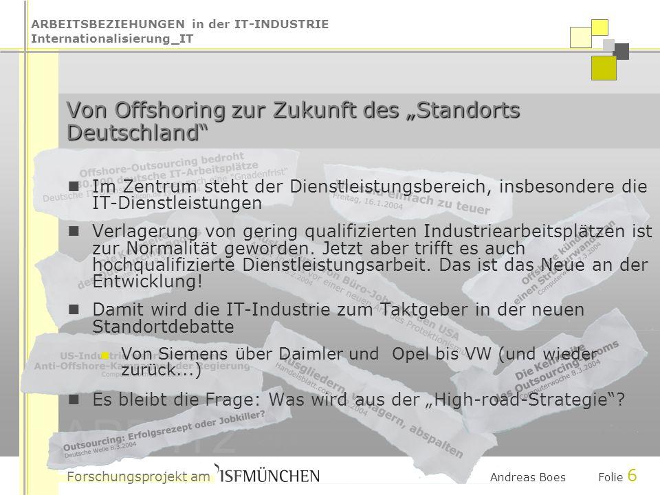 ARBEITSBEZIEHUNGEN in der IT-INDUSTRIE Internationalisierung_IT Forschungsprojekt am ARB-IT2 Andreas Boes Folie 6 Von Offshoring zur Zukunft des Stand