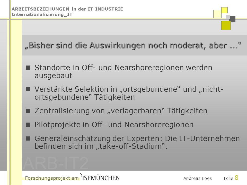 ARBEITSBEZIEHUNGEN in der IT-INDUSTRIE Internationalisierung_IT Forschungsprojekt am ARB-IT2 Andreas Boes Folie 8 Bisher sind die Auswirkungen noch moderat, aber...