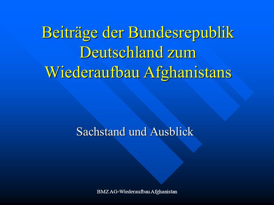 BMZ AG-Wiederaufbau Afghanistan Beiträge der Bundesrepublik Deutschland zum Wiederaufbau Afghanistans Sachstand und Ausblick