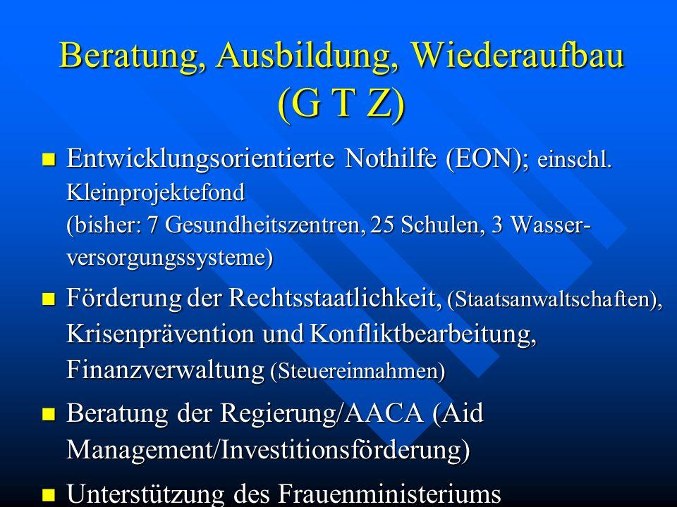 Beratung, Ausbildung, Wiederaufbau (G T Z) Entwicklungsorientierte Nothilfe (EON); einschl. Kleinprojektefond (bisher: 7 Gesundheitszentren, 25 Schule