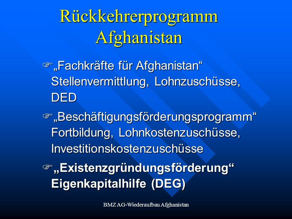 BMZ AG-Wiederaufbau Afghanistan Rückkehrerprogramm Afghanistan Fachkräfte für Afghanistan Stellenvermittlung, Lohnzuschüsse, DED Fachkräfte für Afghan