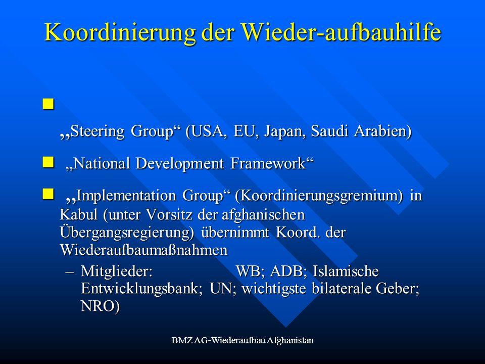 BMZ AG-Wiederaufbau Afghanistan Koordinierung der Wieder-aufbauhilfe Steering Group (USA, EU, Japan, Saudi Arabien) Steering Group (USA, EU, Japan, Sa