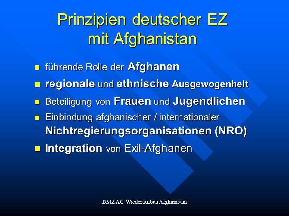 BMZ AG-Wiederaufbau Afghanistan Prinzipien deutscher EZ mit Afghanistan führende Rolle der Afghanen führende Rolle der Afghanen regionale und ethnisch