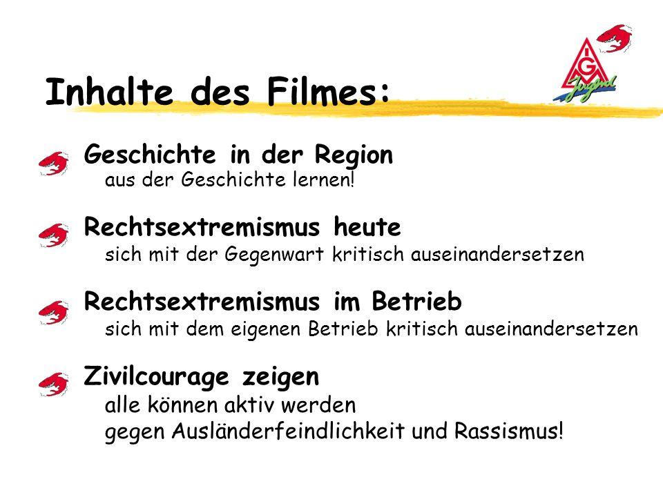 Inhalte des Filmes: Geschichte in der Region aus der Geschichte lernen.