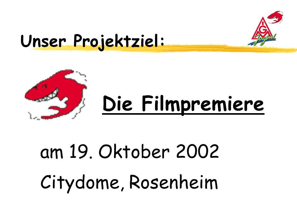 Unser Projektziel: Die Filmpremiere am 19. Oktober 2002 Citydome, Rosenheim